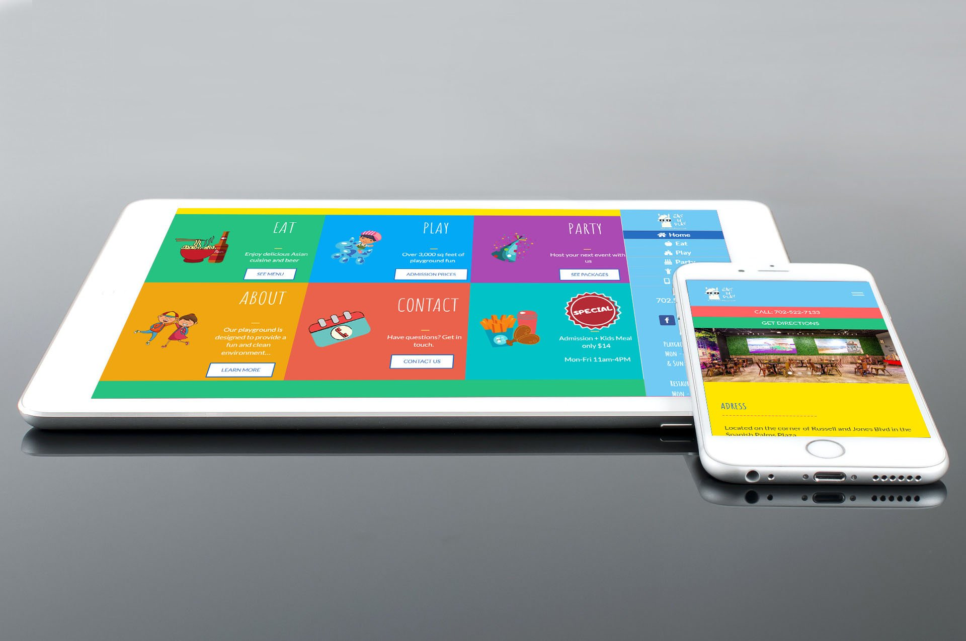 Eat N' Play Website Screenshot - Tablet and mobile
